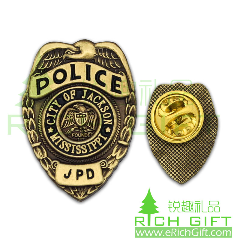 3D Antique metal police badge with texture backside effect
