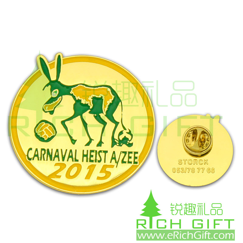Carnaval Heist pin badge with color infilled