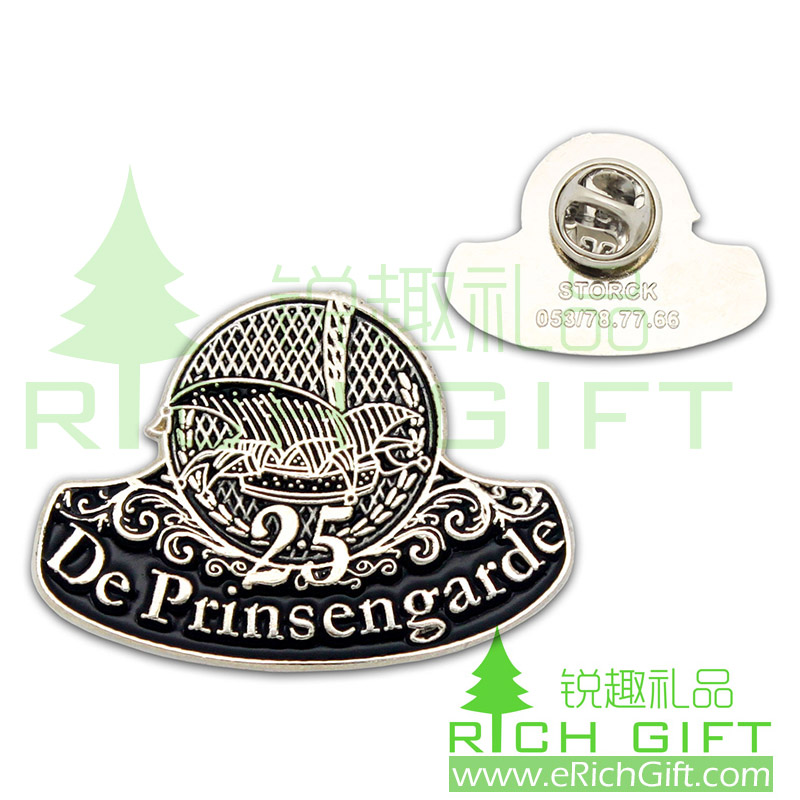 Silver plating badge with butterfly clutch for De Prinsengarde 25 years Souvenir