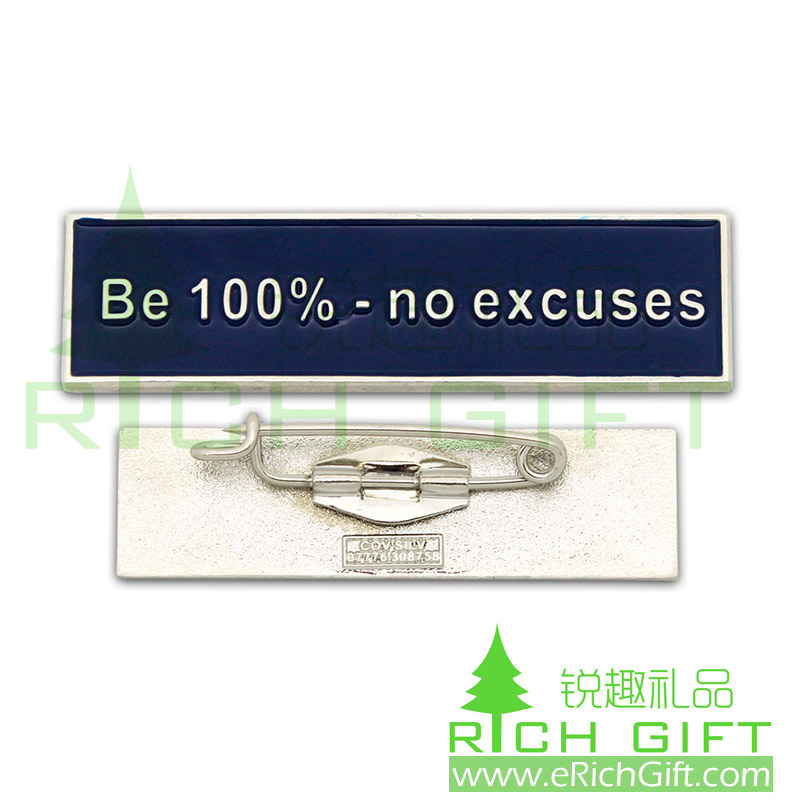 Fashion simple nameplate with high quality safety pin
