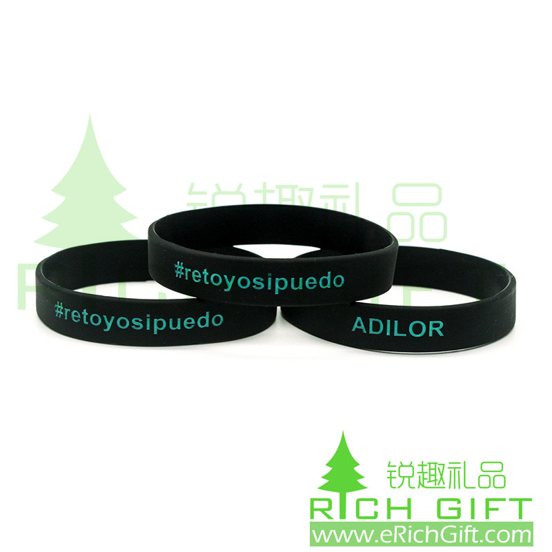 Wholesale cool black silicone wristband with ink filled custom logo