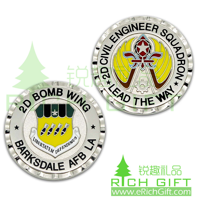 Custom 2D Bomb Wing metal coin for Barksdale AFB LA