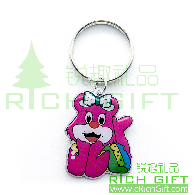 Wholesale custom metal keychain with cat printing logo