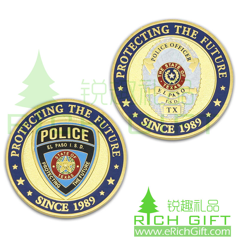 Custom double sides metal coin for police officer