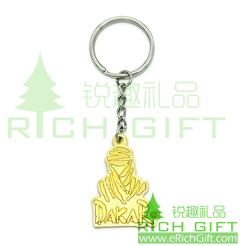 3D Metal keychain with imitation gold plating and four-links keyring