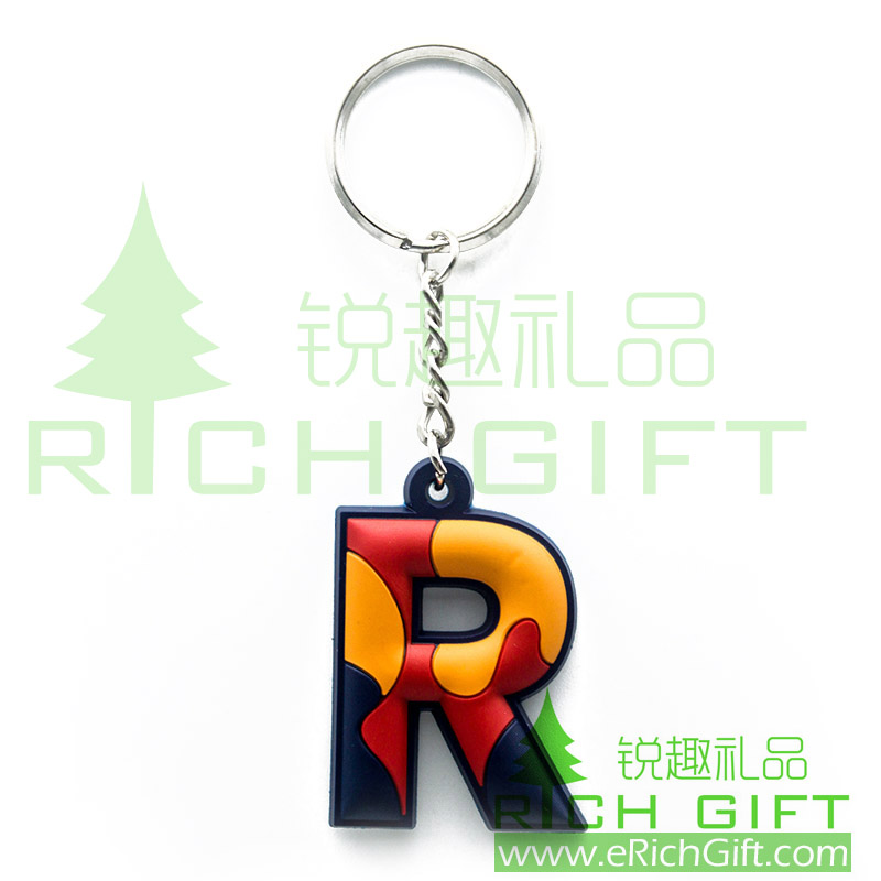 3D PVC keychain with letter-R with four link keyring