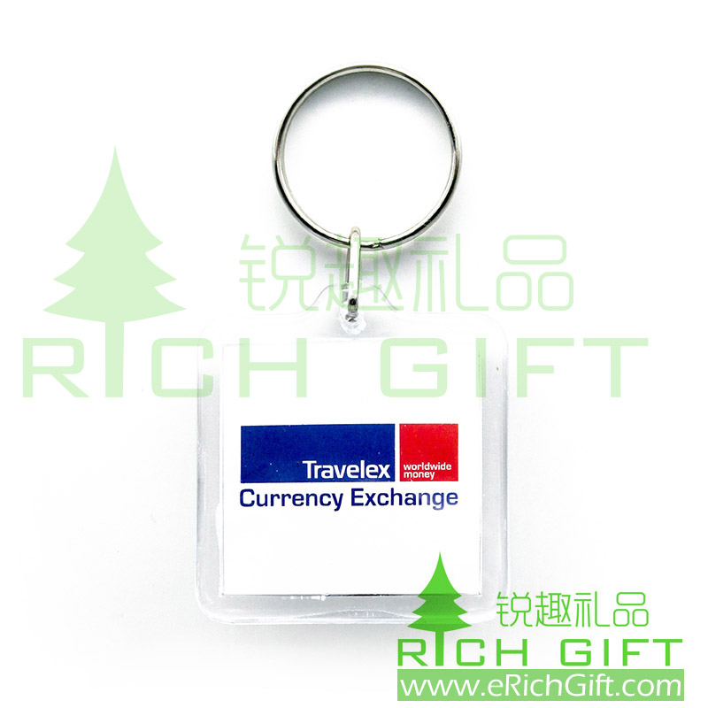 Acrylic keychain for travelex in square shape with single keyring