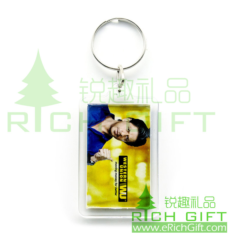 Acrylic keychain with CMYK printing on one side