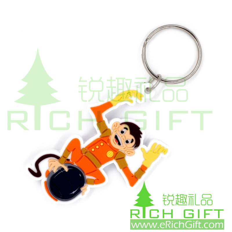 Monkey Shaped Soft PVC Rubber Keyring 2D cartoon custom PVC Keyring