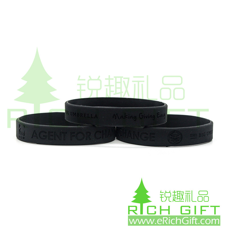 Black silicon wristband with debossed logo on outside