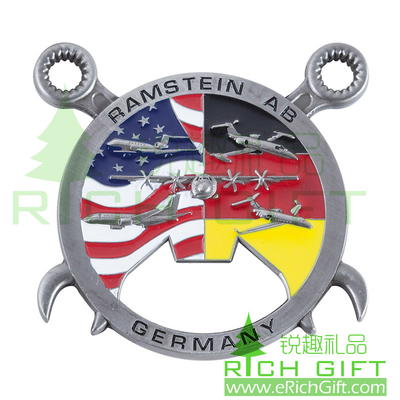 2D zinc alloy die casting medal/bottle opener American & Germany flag