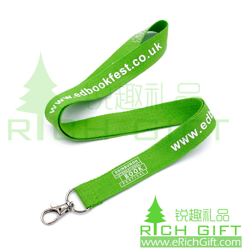 custom high quality green polyester lanyard with your own logo