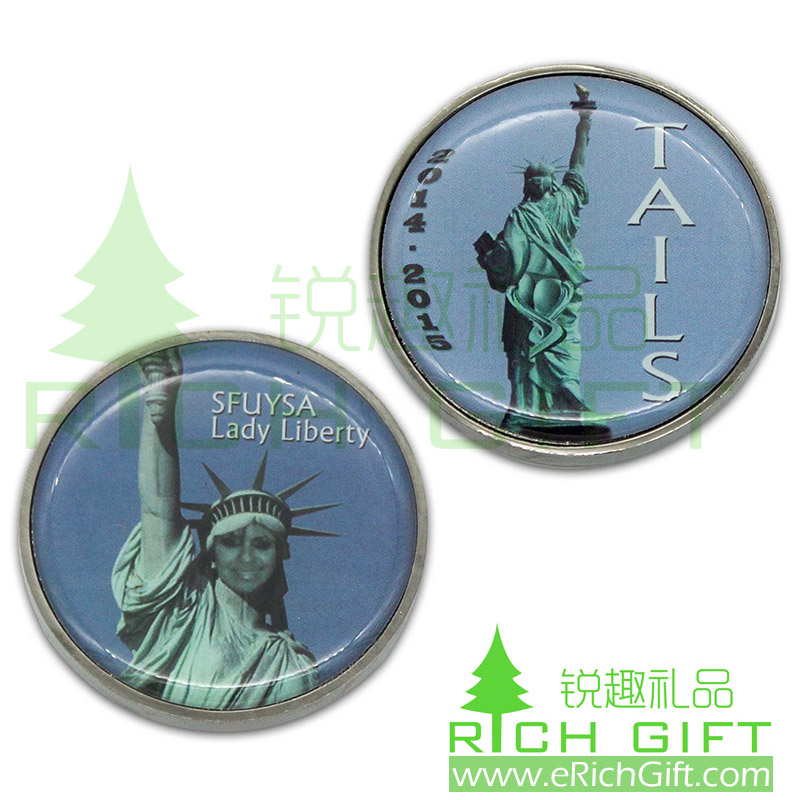Custom metal Lady Liberty coin with printed logo