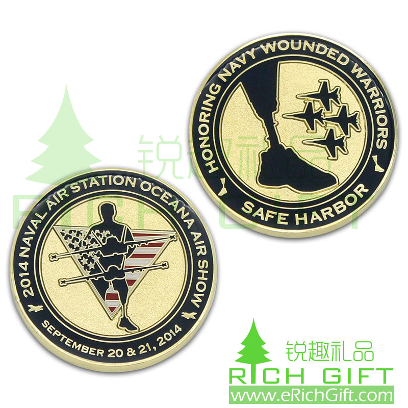 Custom Navy Air Force coin for wounded warriors of Safe Harbor