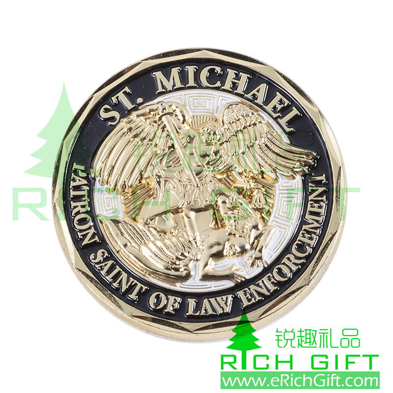 Custom 3D metal award coin for ST.Michael patron saint of law enforcement