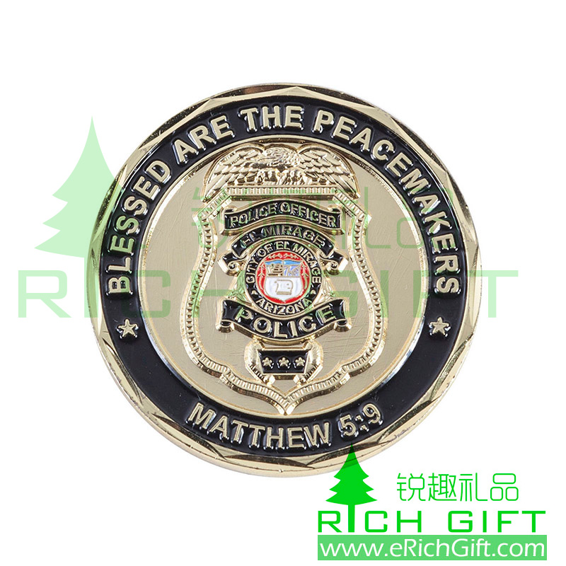 Custom 3D metal award coin for blessed are the peacemakers of police
