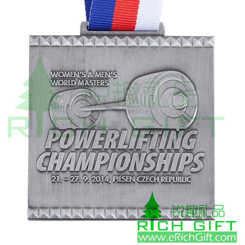 Customized antique Silver plated Metal Medal for Powerlifting Championships