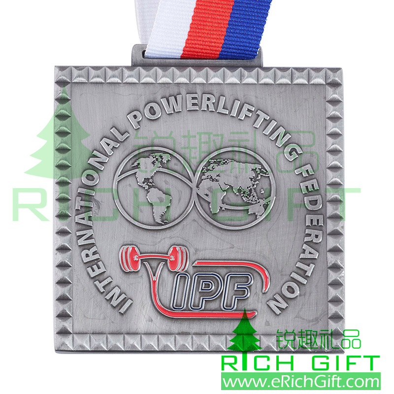 Customized antique Silver plated Metal Medal for International Powerlifting Fenderation