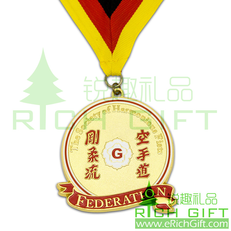 Custom design Gold medal for the society of harmonious fists or federation
