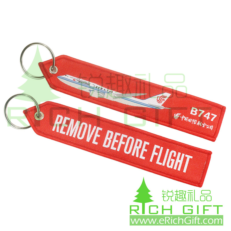 Cheap custom remove before flight embroidered keychain (woven keyring) for airbus promotion gift