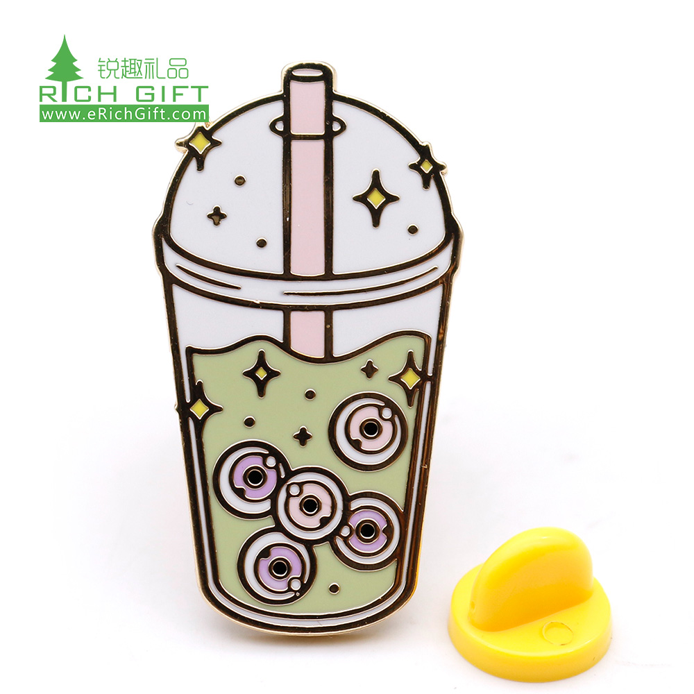 Pretty decoration cheap custom bottle shaped metal hard enamel straw with milk tea lapel pin for sale