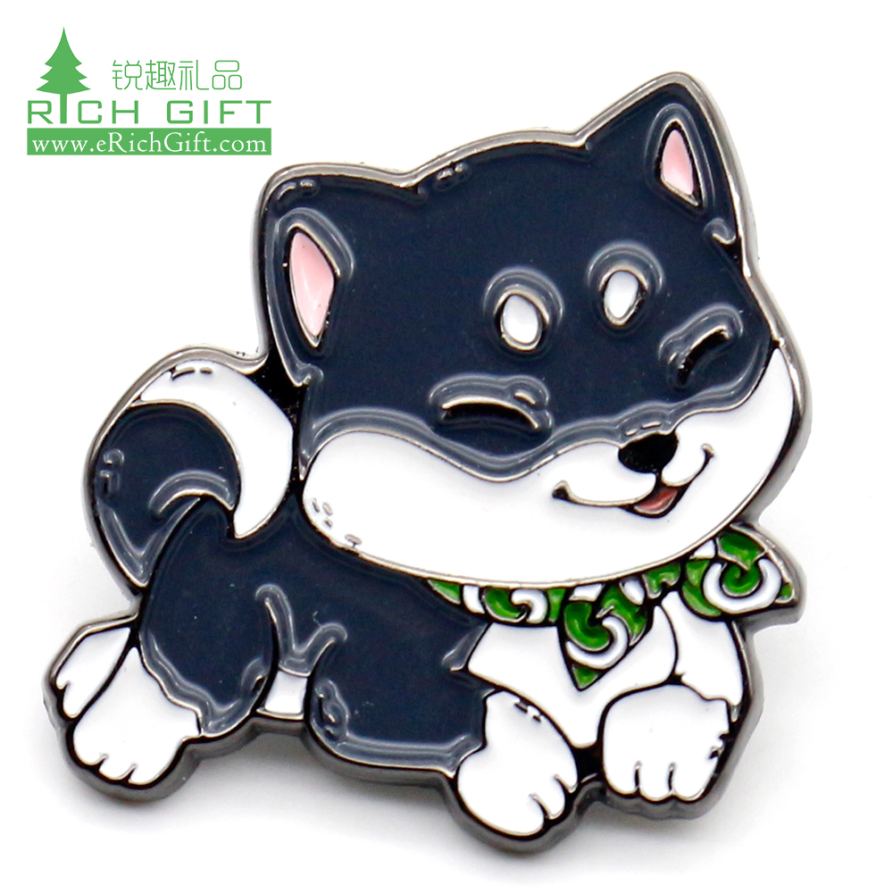 Free sample promotional metal soft enamel cartoon badge custom cute animal kawaii husky lapel pin for sale