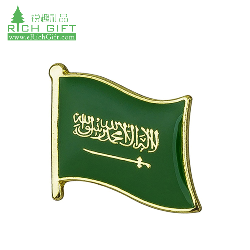 Manufacturer bulk cheap custom metal gold plated enamel epoxy dome flag saudi arabia lapel pin badge for sale