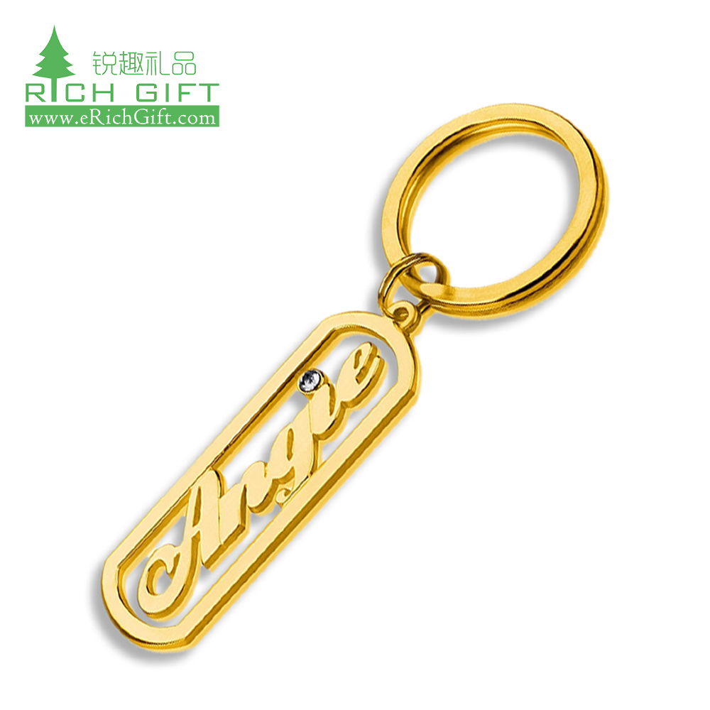 High quality personalized custom metal hollow out laser gold plated tritium alphabet letter diamond brand plate name keychain