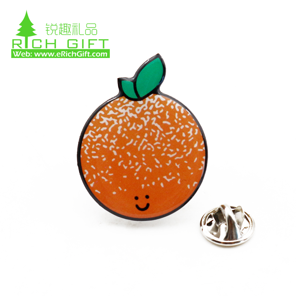Wholesale cheap custom metal stainless steel blank sublimation printing epoxy resin fruit orange lapel pin badge no minimum