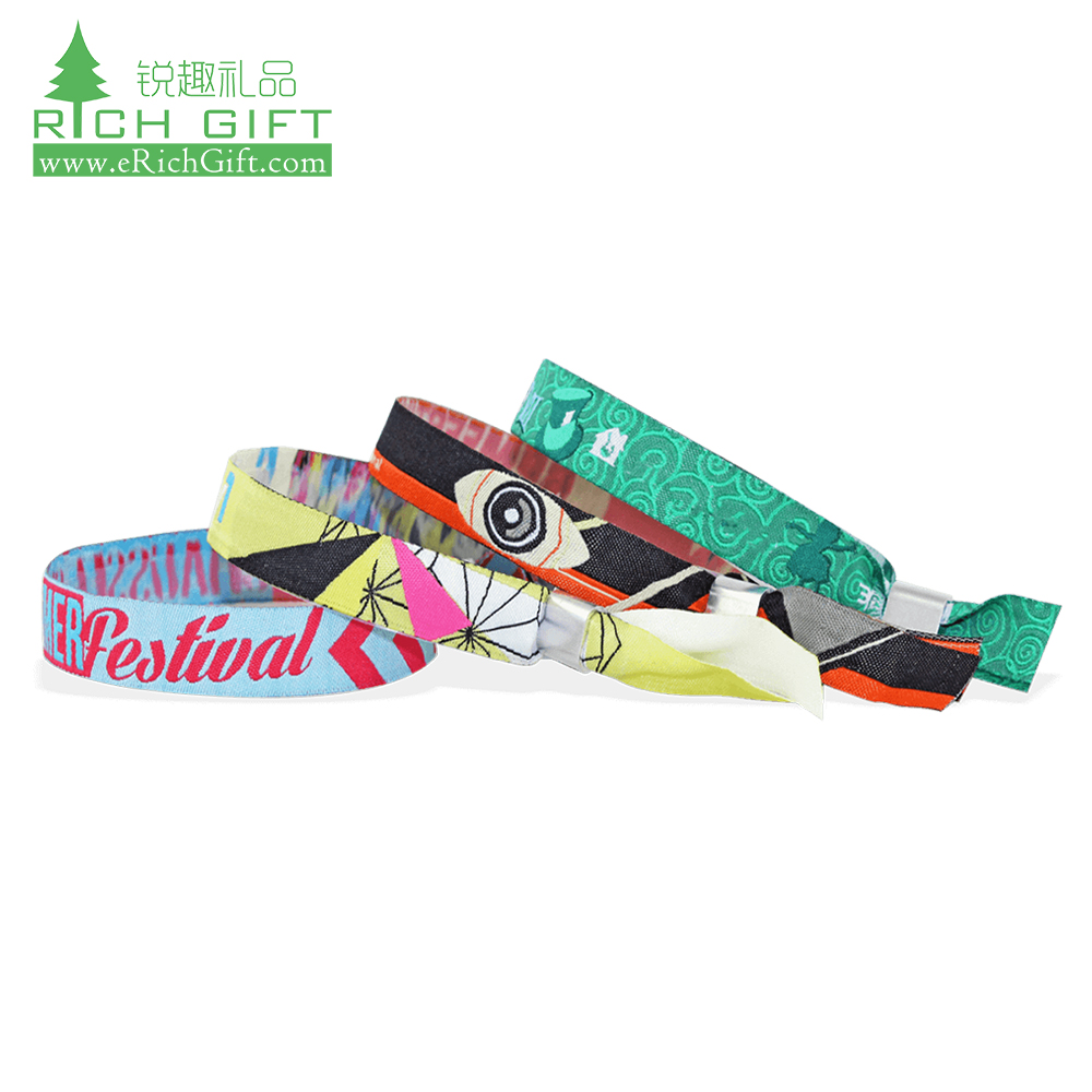 High quality cheap custom personalized polyester woven festival fabric wristbands for promotion