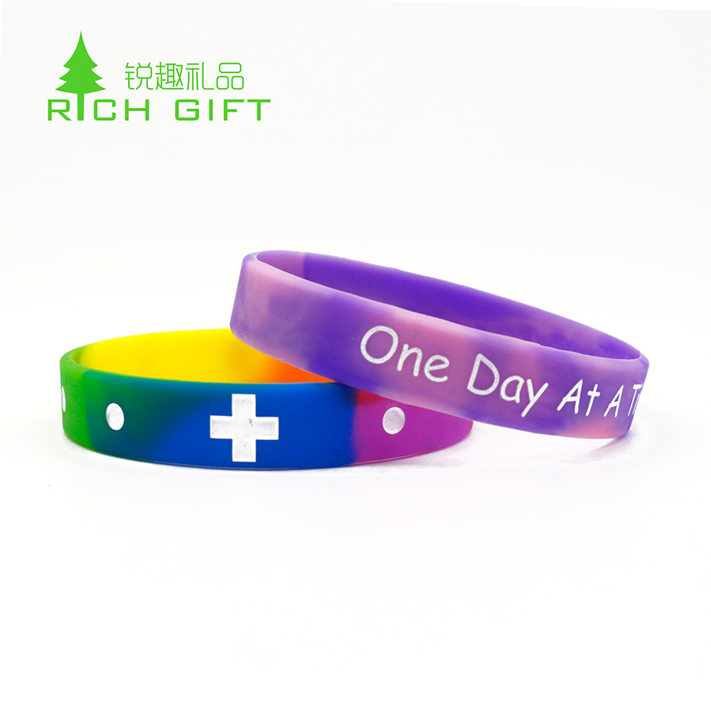 High quality custom recycled debossed ink filled silicone bracelet souvenir wristband for sale