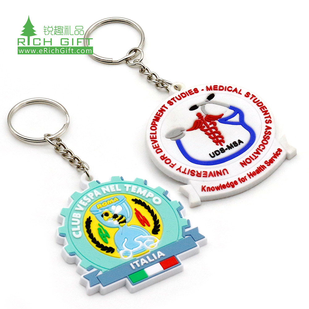 High quality custom soft pvc color filled football club team keyring italy state country tourist city souvenir keychain