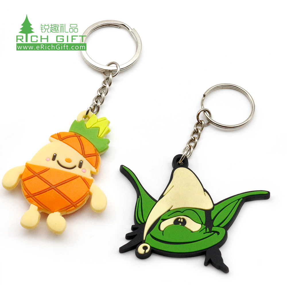 OEM manufacturer custom made silicone rubber cartoon anime kids keyring promotional cute small mini soft pvc toy keychain