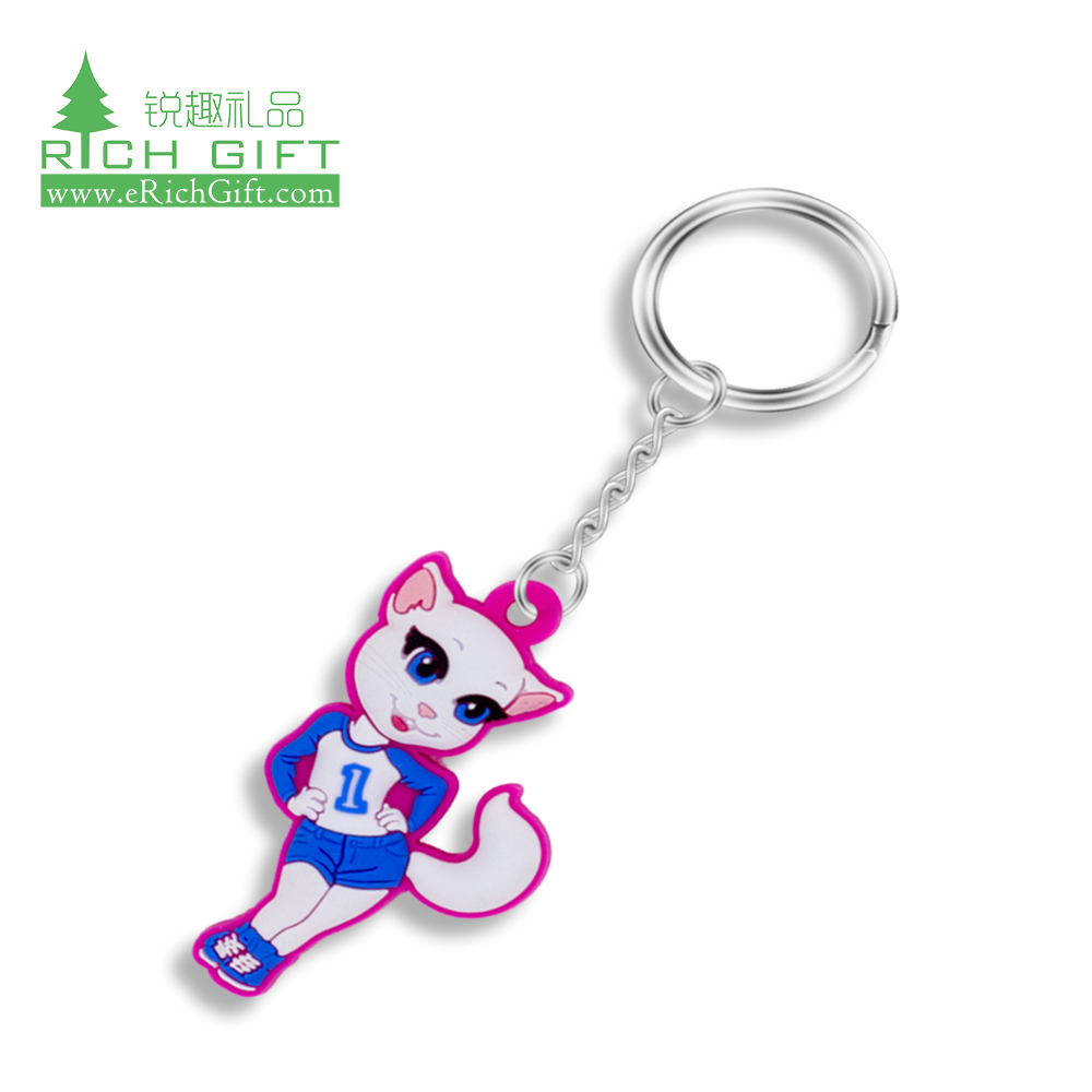 Free sample custom 3d fancy silicone rubber anime keyring wholesale soft pvc cute character cartoon girl keychain