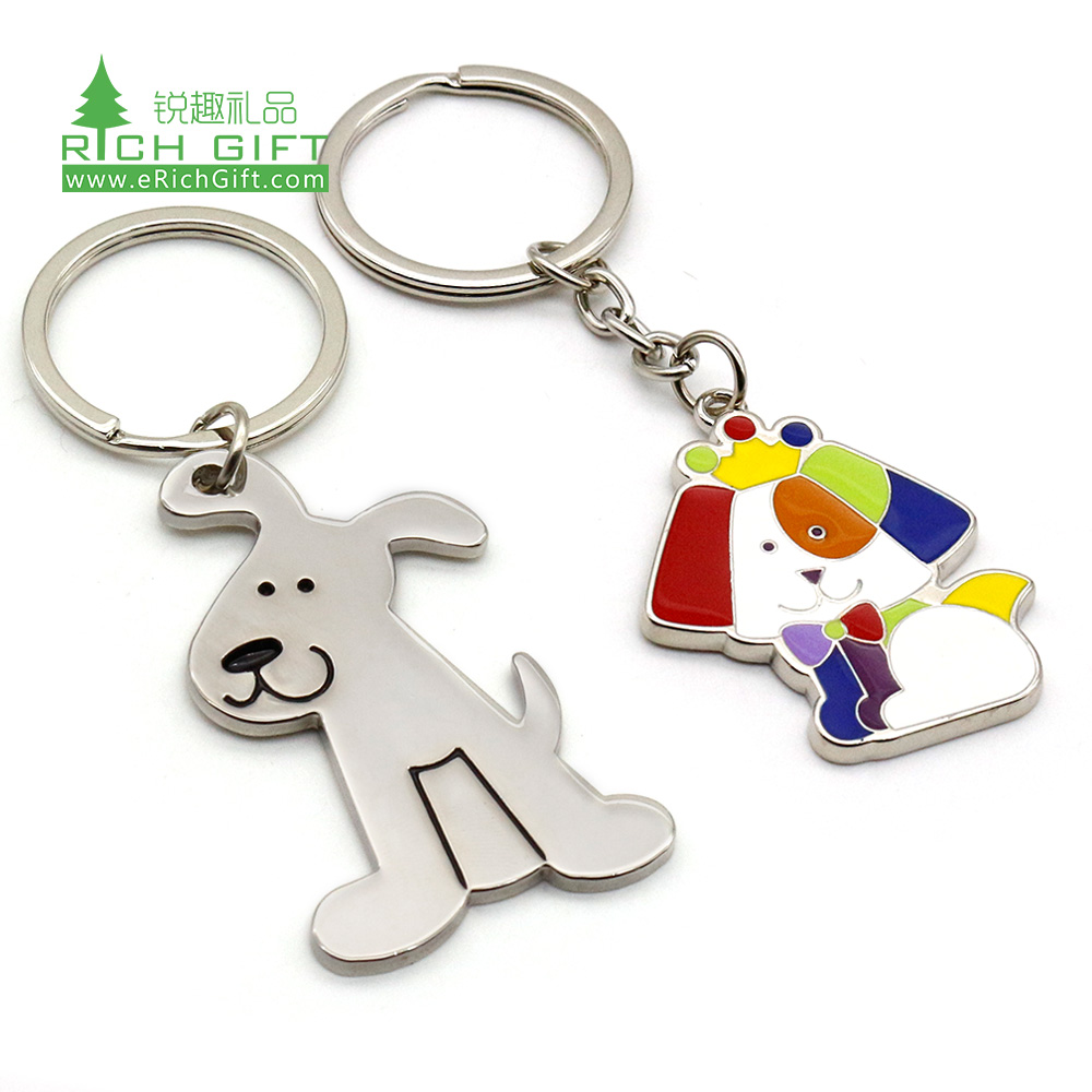 Wholesale personalised custom shape charm plain funny animal keyring fashion metal cute mini dog keychains