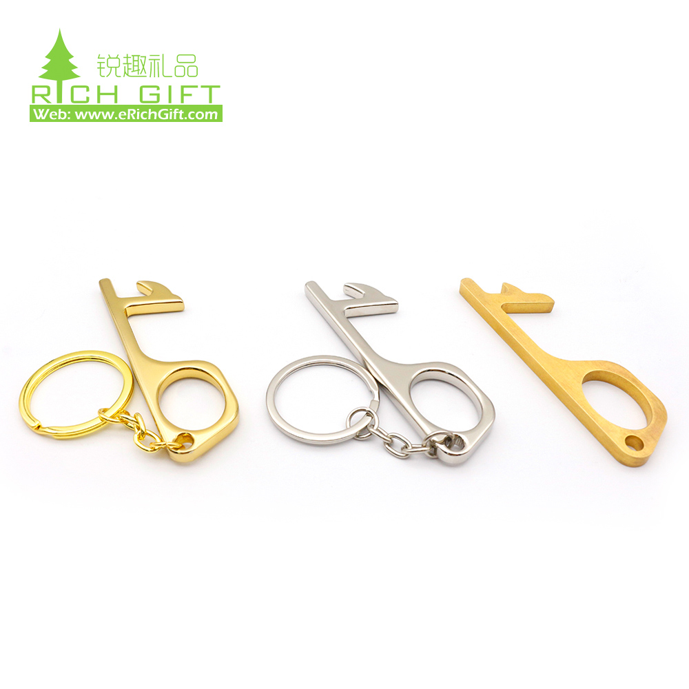 anti virus no touch key zero touchless contactless germ free hygiene copper hand keychain antimicrobial brass edc non-contact hook door opener stylus keyring