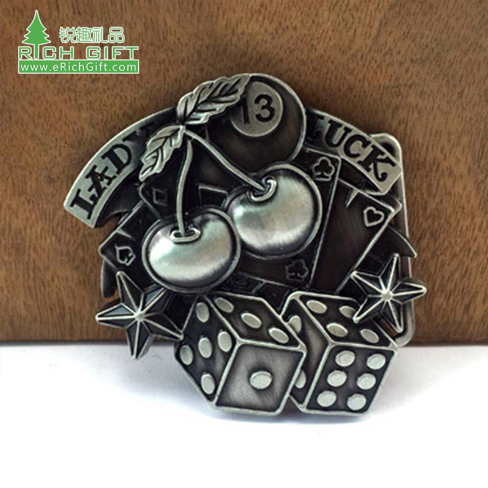 custom Alloy Automatic Belt Buckles for Men's Retro antique silver nickel plating cherry dice Belt Buckle Head for buckle Belt
