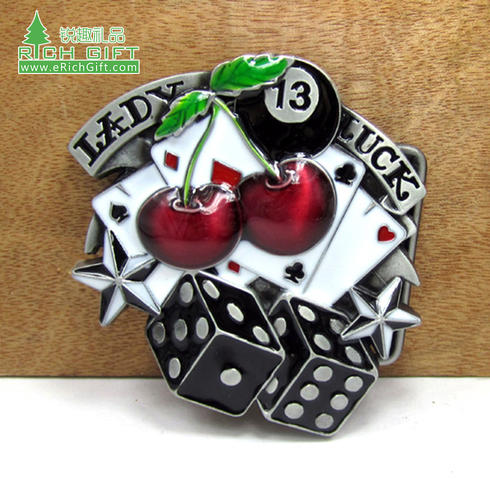 custom Alloy Automatic Belt Buckles for Men's Retro antique silver nickel plating Transparent enamel poker cherry dice Belt Buckle Head for buckle Belt