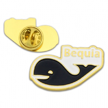 Custom cute whale pin badge for Bequia