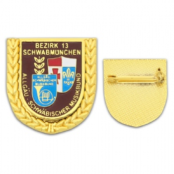 Imitation gold Shield emblem badge arround with 3D border