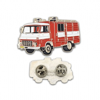 Soft enamel fire engine car pin badge with two butterfly clutch