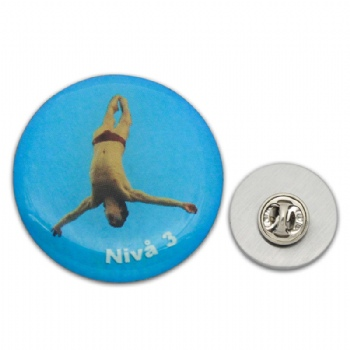 CMYK printing diving sport lapel pin with epoxy cover