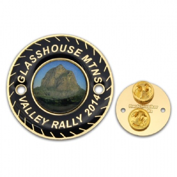 Golden badge with soft enamel infilled and printing pin in the middle