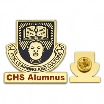 Iron stamping badge with imitation gold plating for CHS Alumnus