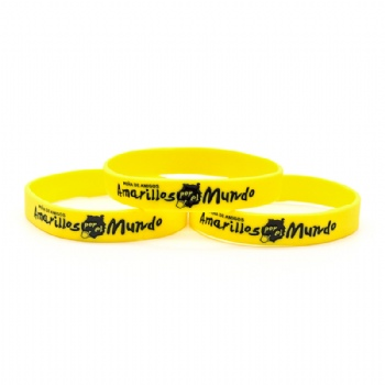 Custom pantone yellow color wristbands with soft enamel logo