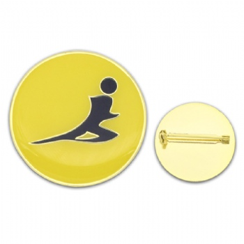 Custom round pins with safety pins for runner