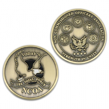 Custom 3D antique metal coin for Non Commissioned Officers Association