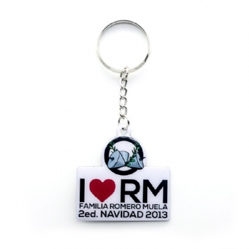 Custom metal keyring with love topis CMYK printing logo.