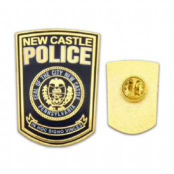 Custom High quality Police badge with Imitation hard enamel infilled.