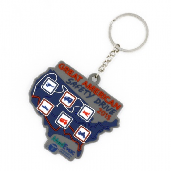 PVC 2D America map keychain saying American to be safety drive